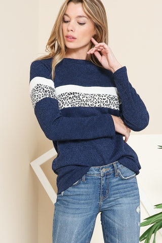 Navy Top With Leopard Contrast