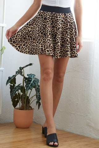 Ruffled Animal Print Mini Skirt