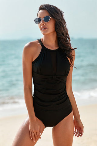 High Neck Plunge Mesh Ruched Swimwear