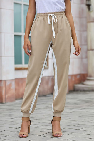 Casual Striped Drawstring Pants