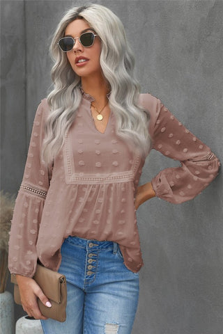 Ruffled Split Neck Lace Polka Dot Blouse