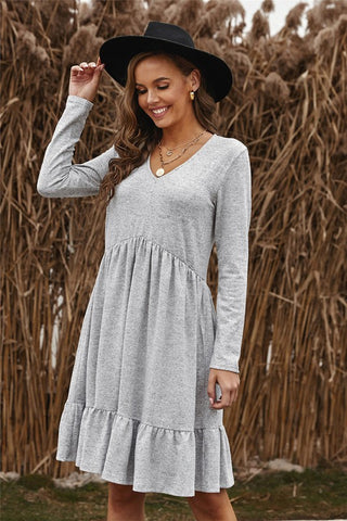 Gray Brushed Fleece Spring Dress