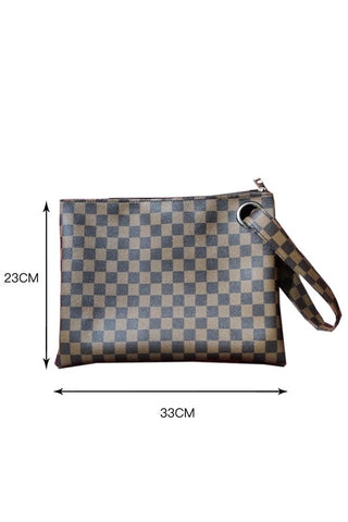 Checkered Print Clutch