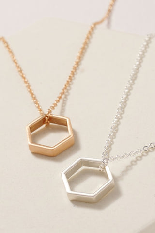 Hexagon Charm Short Necklace