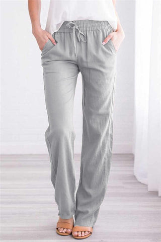 Drawstring Elastic Waist Pockets Pants
