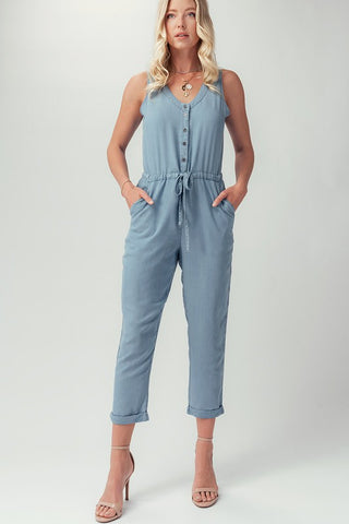 TENCEL BUTTONED SLEEVELESS CUFFED HEM JUMPSUIT