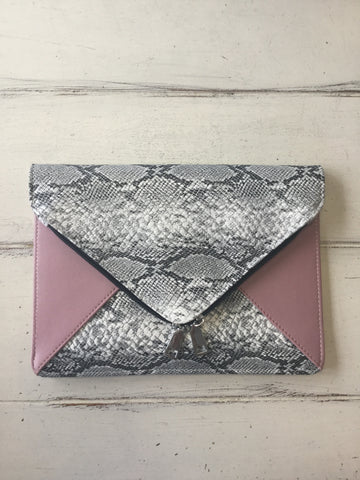 Snake and Blush Pink Clutch