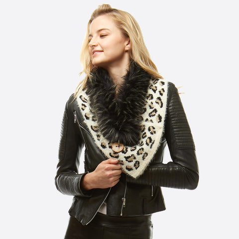 Leopard Print Knit Scarf/Shawl Featuring Faux Fur Neck Trim and Coconut Button Details
