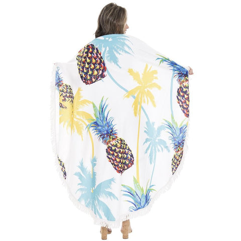 Pineapples and Palm Trees Round Beach Towel