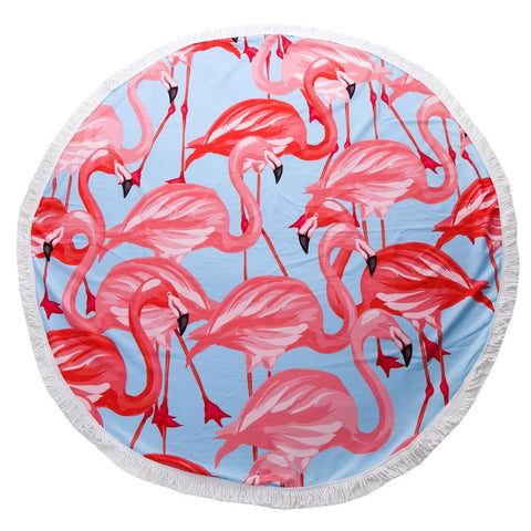 Blue and Flamingo Round Beach Towel