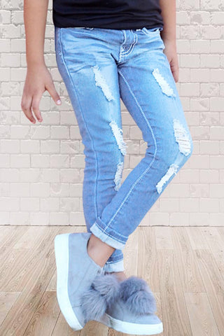 Girls Distressed Jean with Wide Cuff