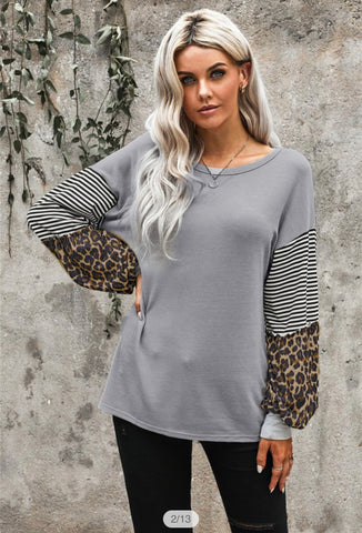 Leopard Striped Print Sleeve Colorblock Top
