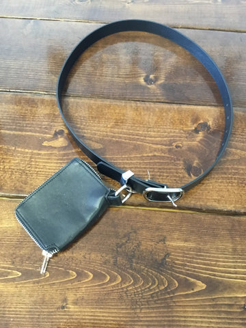 Faux Leather Side Pouch Belt