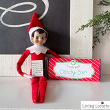 Cute Elf sized and kid sized printable candy bar wrappers and note from your Elf on the Shelf. Cute last-minute Elf on the Shelf idea!