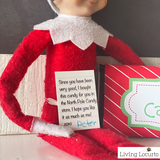 Elf sized and kid sized printable candy bar wrappers and note from your Elf on the Shelf.