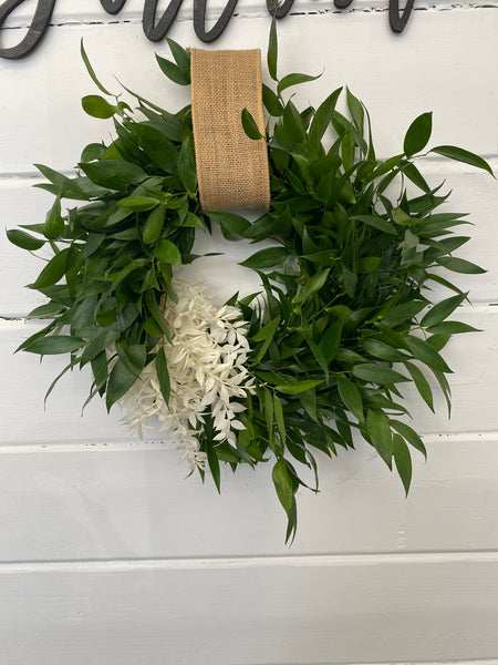 White Stripe Ruscus Gift Wreath