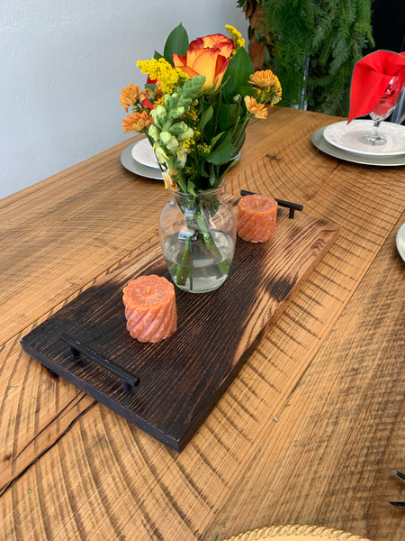 Wood Cutting Board with Handles... Burnt Wood Look