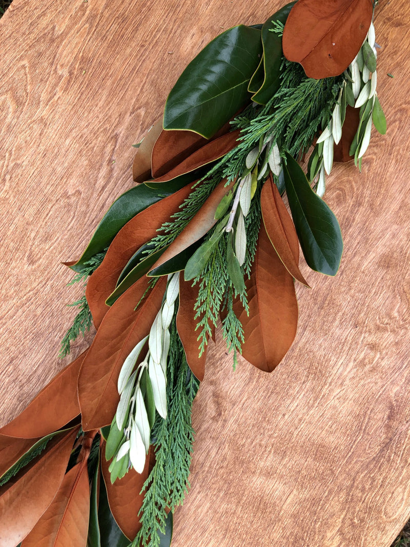 Leyland Cypress, Magnolia, and Olive Leaf Garland