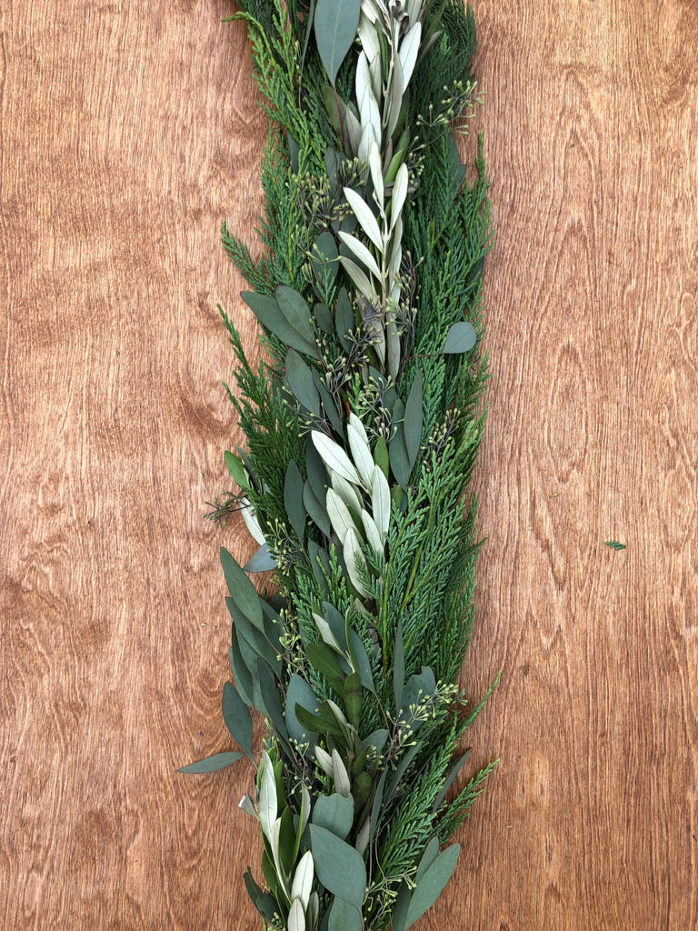 Leyland Cypress, Olive Leaf, and Seeded Eucalyptus Garland