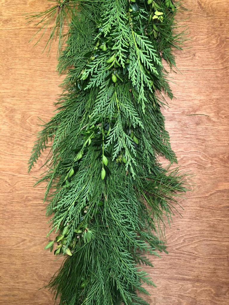 Leyland Cypress, Boxwood, and Florida Pine Garland