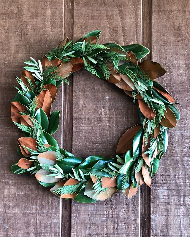 Magnolia, Leyland Cypress, and Olive Leaf Wreath