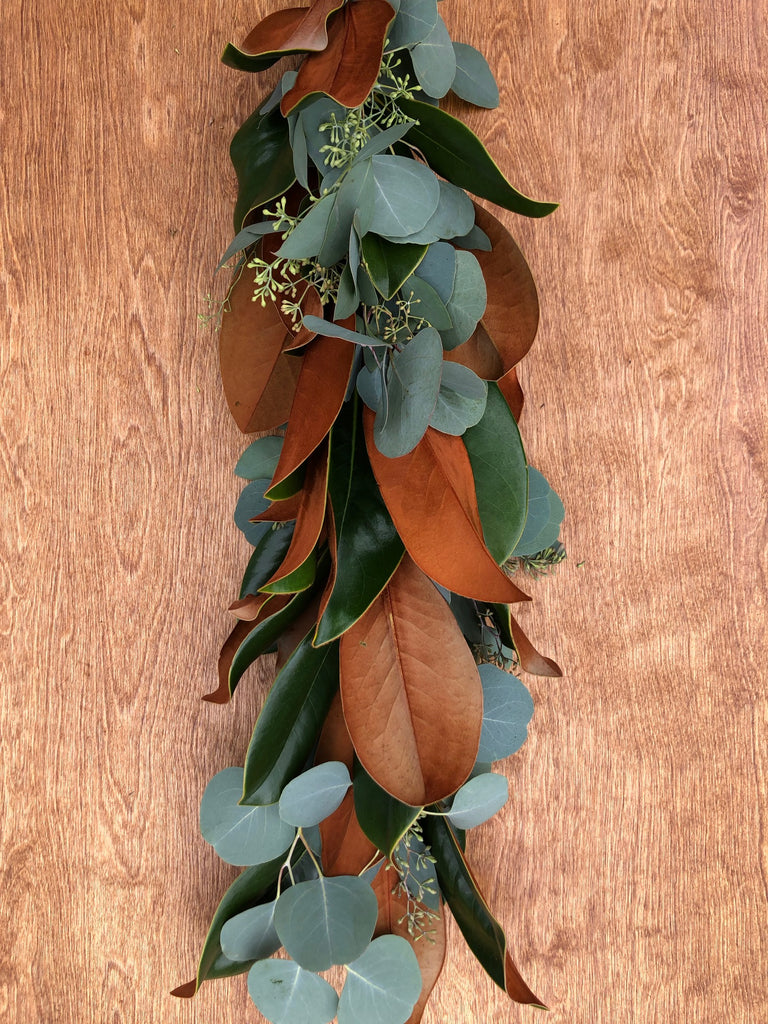 Magnolia, Silver Dollar, and Seeded Eucalyptus Garland