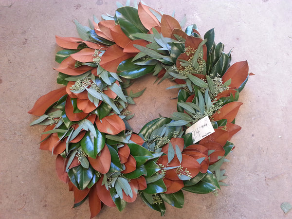 Magnolia and Seeded Eucalyptus Wreath