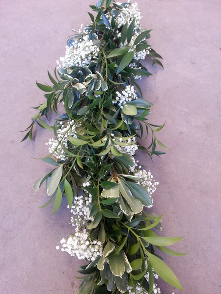 Nagi, Variegated Pitt, and Baby's Breath Garland