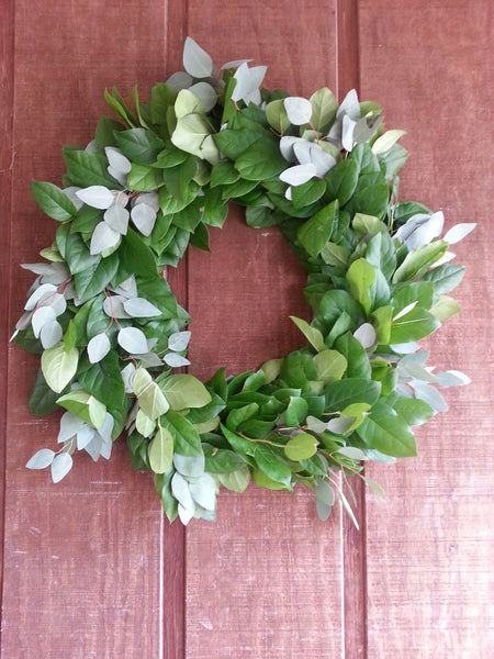 Salal and Silver Dollar Eucalyptus Wreath