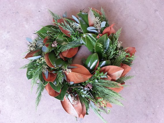Magnolia, Boxwood, and Leyland Cypress Wreath