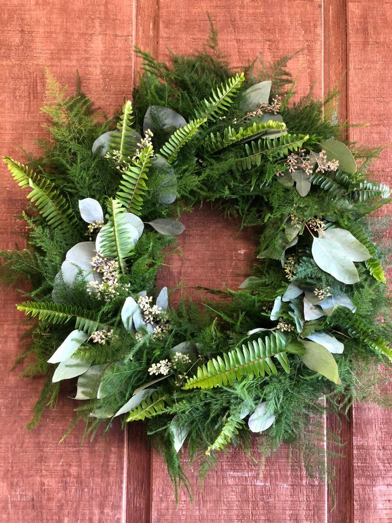 Silver Dollar, Seeded Eucalyptus, Sword Fern, and Plumosus Fern Wreath