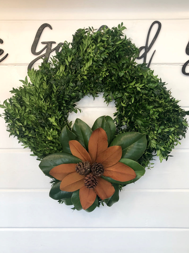 Boxwood and Magnolia Square Wreath