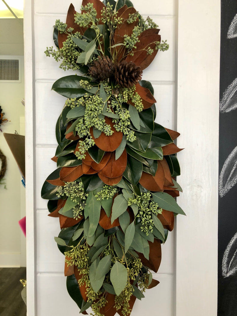 Magnolia and Seeded Eucalyptus Swag with Cones