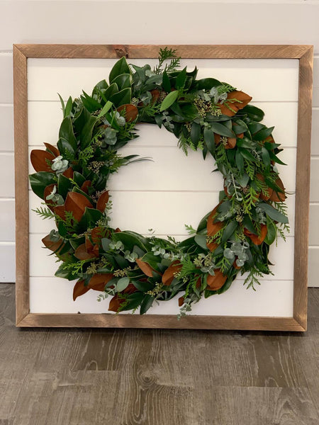 Magnolia, Baby Blue Euclyptus, Nagi, and Leyland Cypress wreath