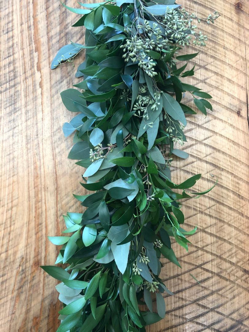 Italian Ruscus, Seeded Eucalyptus, and Nagi Garland