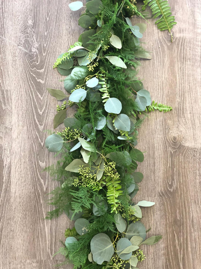 Silver Dollar, Seeded Eucalyptus, Plumosus, and Sword Fern Garland