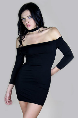 Choker Dress in Black - Miss Edgy