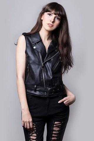 leather motorcycle vest - Miss Edgy