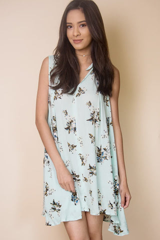 Babydoll Flowy Floral Dress in Blue - Miss Edgy