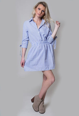 Stripped Shirt Dress - Miss Edgy