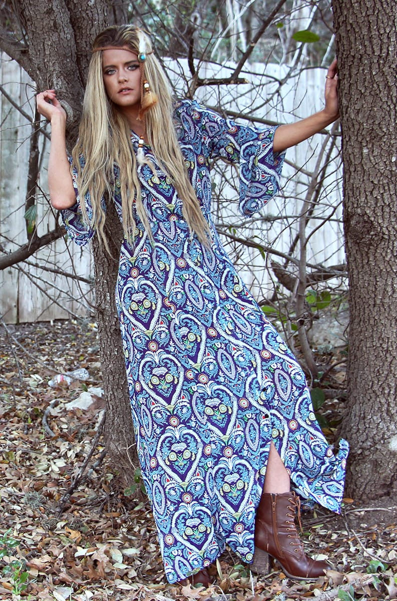 Bell sleeve maxi dress - Miss Edgy