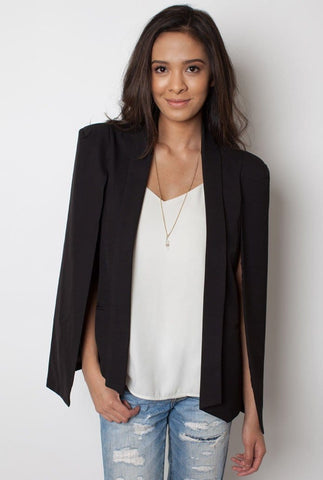 Black Cape Jacket - Miss Edgy