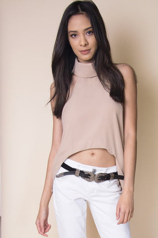 Uneven Cut Crop Top in Beige - Miss Edgy