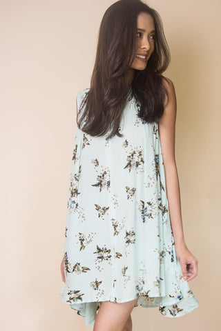 Babydoll Flowy Floral Dress in Blue