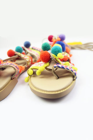 Lace Up Pom Pom Flat Sandals
