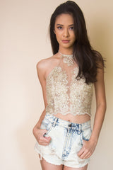 Embroidered Floral Halter top in Gold - Miss Edgy