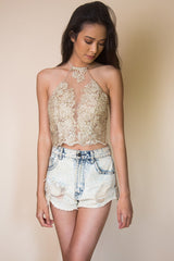 Embroidered Floral Halter top in Gold