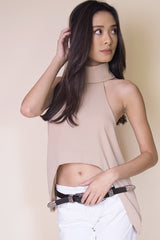 Uneven Cut Crop Top in Beige