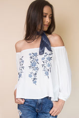 Embroidered Off the Shoulder Top - Miss Edgy