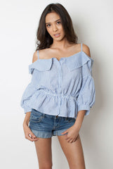 Off the Shoulder Striped Top - Miss Edgy